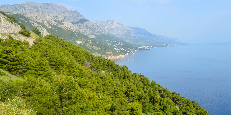 Adriatycki Denny wybrzeże Makarska Riviera Dalmatia obrazy royalty free
