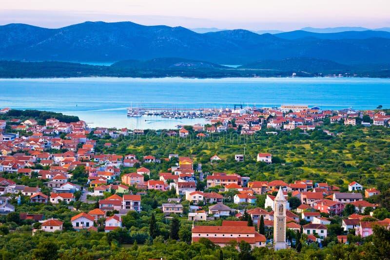 Adriatycki miasteczko Murter zatoki widok z lotu ptaka zdjęcia royalty free