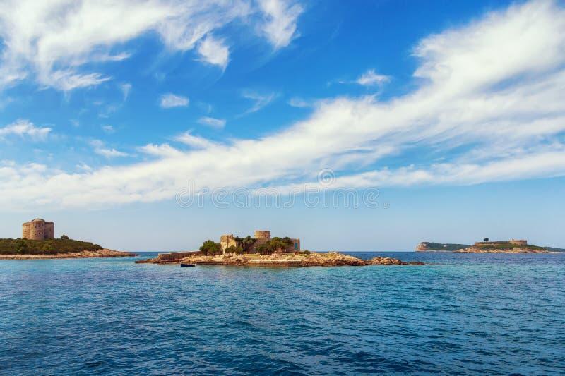 Adriatyckiego morza widok od Boka Kotorska zatoki Montenegro obraz stock