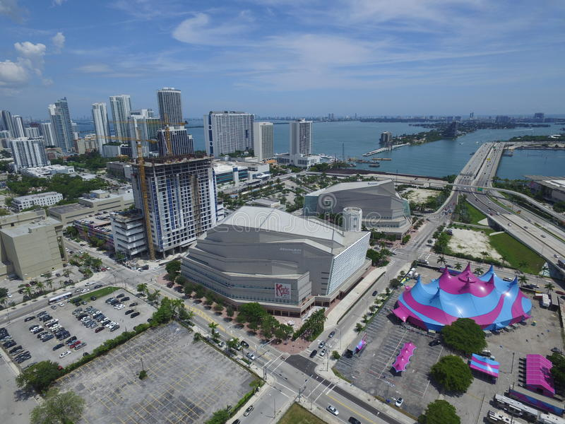 Adrienne Arsht Center aerial photo. MIAMI - SEPTEMBER 9: Aerial image of the Adrienne Arsht Center is South Floridas largest performing arts center located at stock photo
