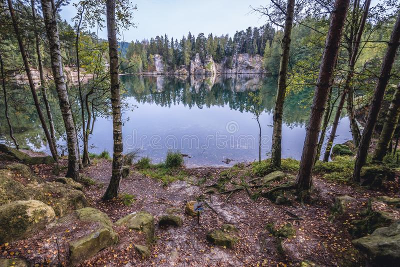 Adrspach Teplice Rocks. Artificial lake in Adrspach Teplice Rocks landscape park in Broumov Highlands region of Czech Republic stock images