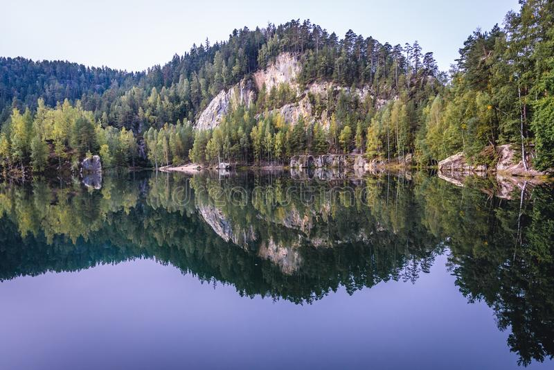 Adrspach Teplice Rocks. Lake in Adrspach Rocks, part of Adrspach-Teplice National Park in Czech Republic stock photos