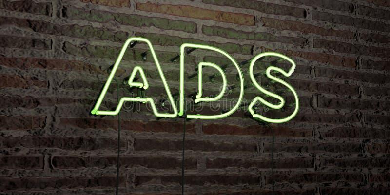 ADS - enseigne au néon réaliste sur le fond de mur de briques - image courante gratuite de redevance rendue par 3D illustration stock