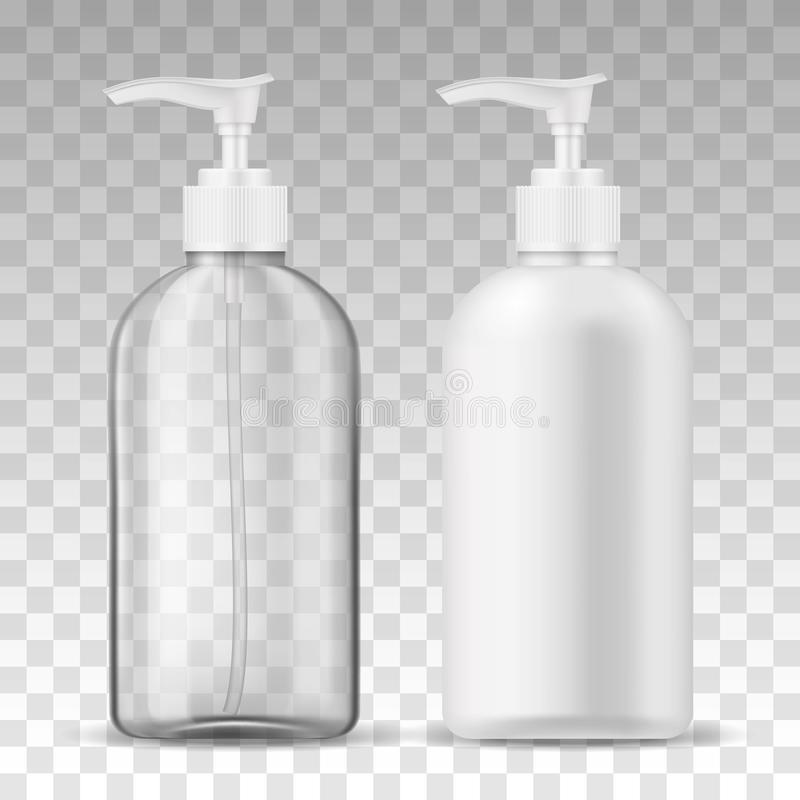 Ads template mockup two realistic plastic bottles with dispenser airless pump transparent and white for liquid gel, soap. Lotion, cream, shampoo, bath foam and stock illustration