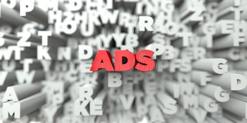 ADS - Testo rosso sul fondo di tipografia - 3D ha reso l'immagine di riserva libera della sovranità illustrazione di stock
