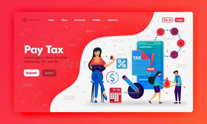 Ads to pay taxes with flat illustrations mobile phone, calculator and document. Filling out and submitting a tax bill. Can use for vector illustration