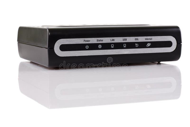 ADSL modem. New black ADSL modem on a white background royalty free stock photography