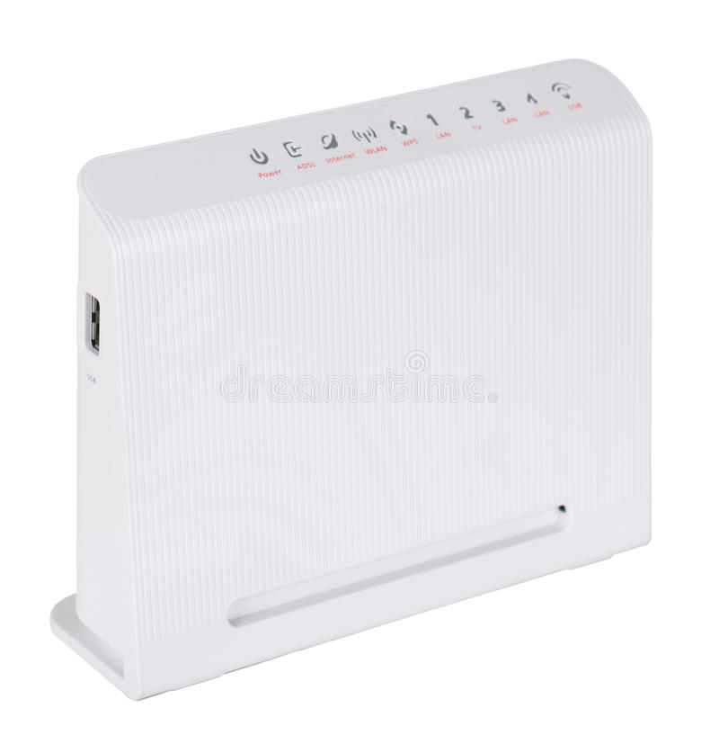 ADSL modem. Isolated on a white background stock photography