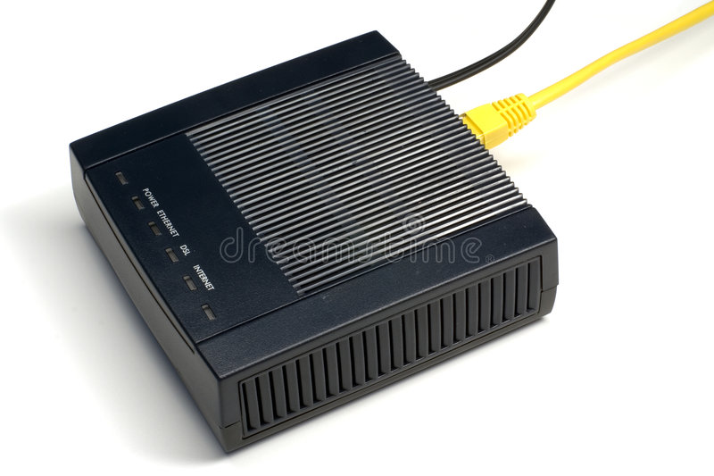 ADSL modem. Black ADSL modem with connected LAN and phone wires stock images