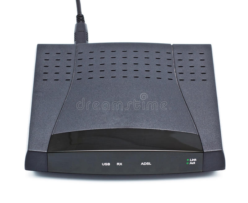 Adsl Modem. Router on white background stock image