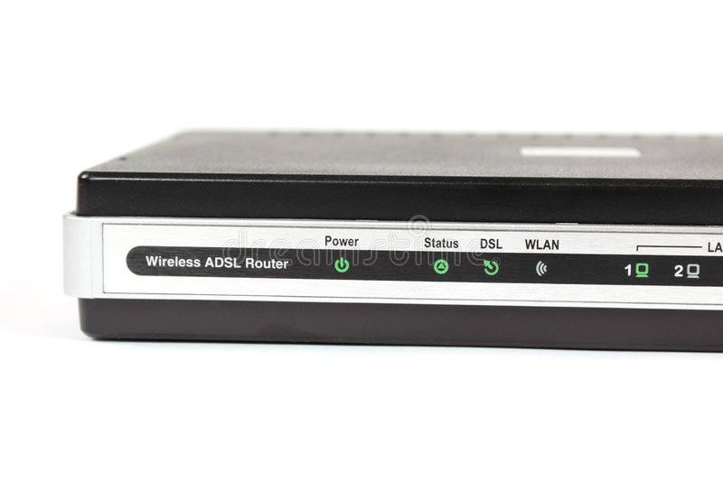 ADSL Router. Wireless ADSL router on white background royalty free stock images