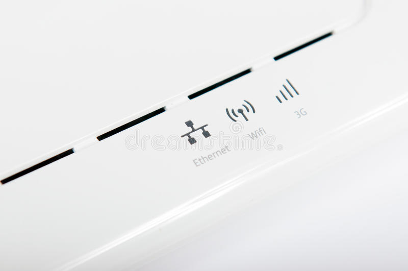 ADSL router. Indicators of a white adsl router royalty free stock photo