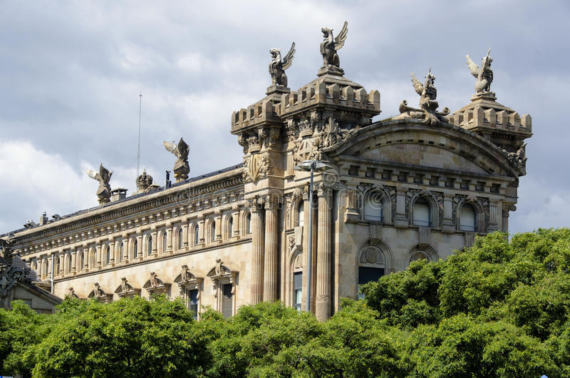 Aduana大厦在巴塞罗那 免版税图库摄影