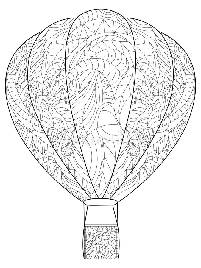 Adult antistress coloring balloon. Illustration of black lines doodle, white background. Adult antistress coloring balloon. Vector illustration of black lines royalty free illustration
