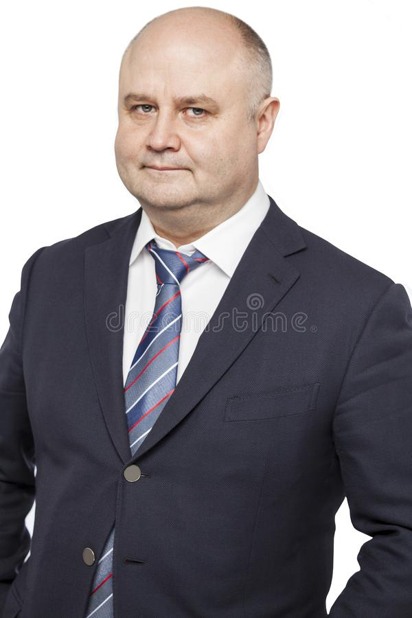 Adult bald man in a suit stock photography
