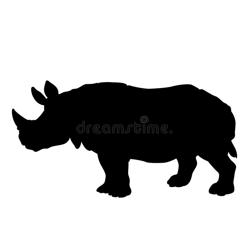 Adult black rhino silhouette royalty free illustration