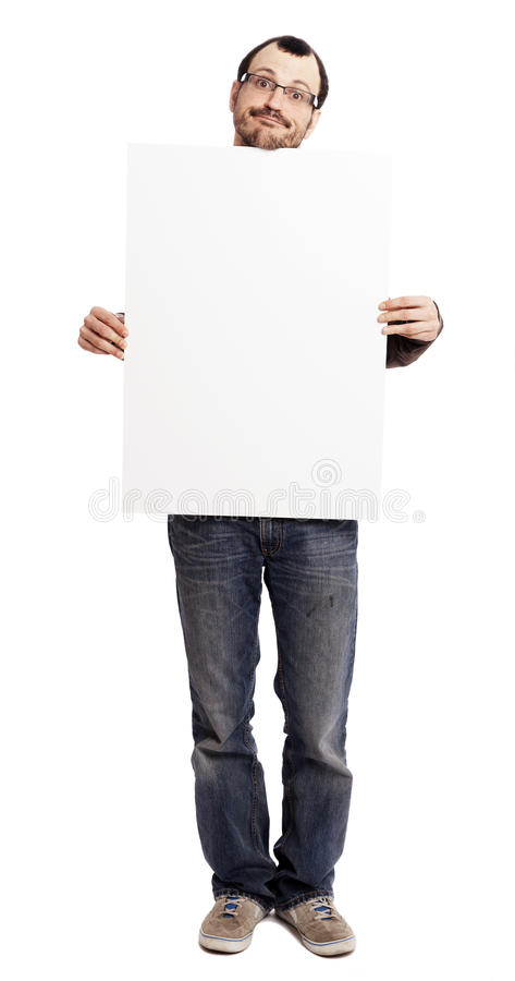 Download Goofy Faced Man Holding Blank Sign Stock Photo - Image: 29978384