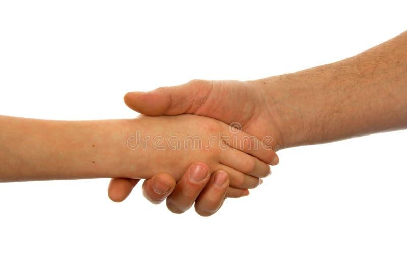 Adult and child handshake. Adult men and child handshake over white background stock photos