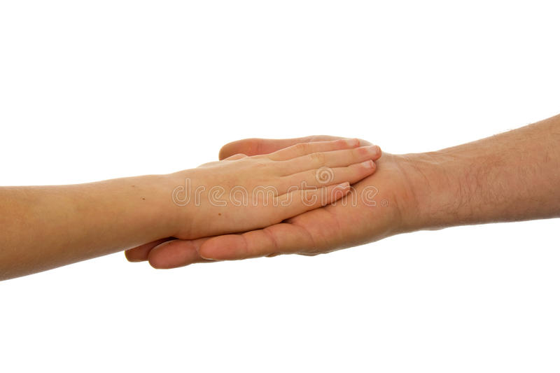 Adult and child handshake. Adult men and child handshake over white background royalty free stock image