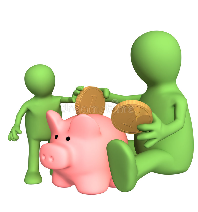 Adult And Child Lowering Coin In Piggy Bank Stock Image