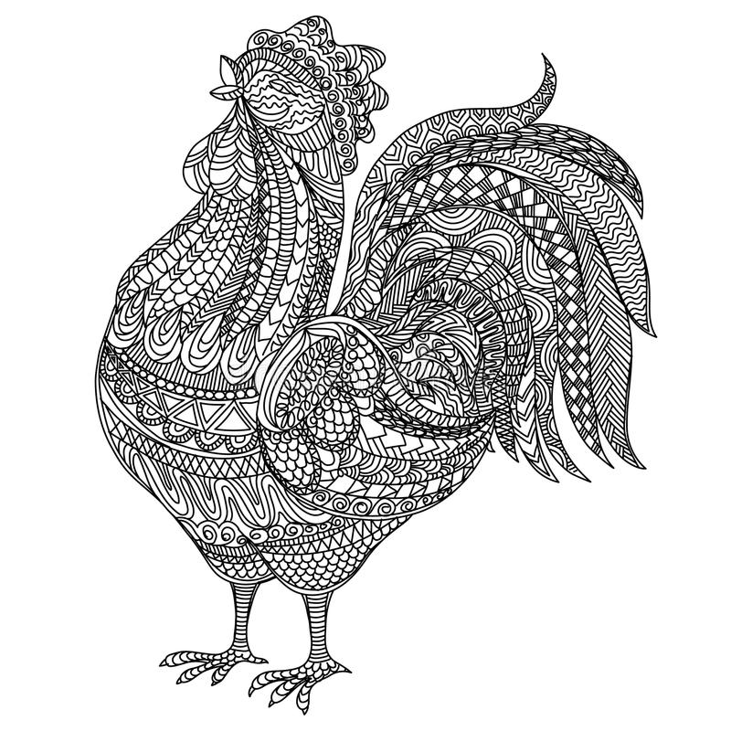 Adult and children Coloring book cock. Farm animlas. Hand-drawn hen with ethnic floral doodle pattern. For adults. Adult and children Coloring book cock. Farm royalty free illustration