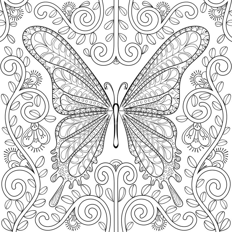 Download Adult Coloring Book With Butterfly In Flowers Pages Zentangle V Stock Vector