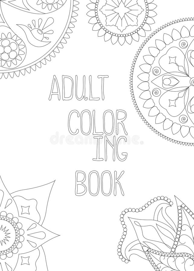 Download Adult Coloring Book Cover Vertical Vector Illustration With Mandala And Hand Written Text Stock