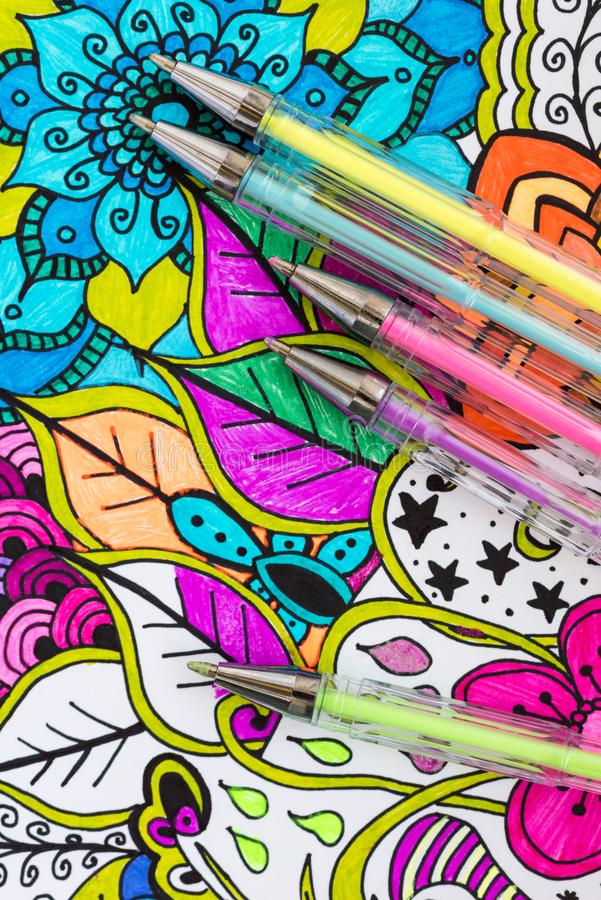 Free Adult Coloring Book, New Stress Relieving Trend. Art Therapy, Mental Health, Creativity And Mindfulness Concept. Stock Photos - 120792753