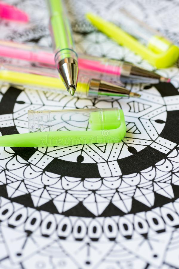 Adult coloring book, new stress relieving trend. Art therapy, mental health, creativity and mindfulness concept. Adult coloring. Adult coloring book, new stress royalty free stock photo
