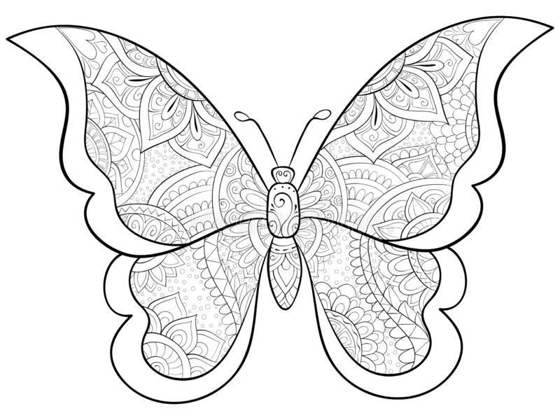 Adult Coloring Book Page A Butterfly Image For Relaxing Zen Art Style Illustration Stock Vector Illustration Of Icon Decorate 128870951