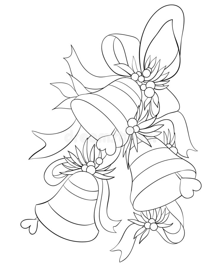 Adult coloring book,page a Christmas bells with bow ,leaves and fruits for relaxing.Line art style illustration. A set of Christmas bells with bow,fruits and vector illustration