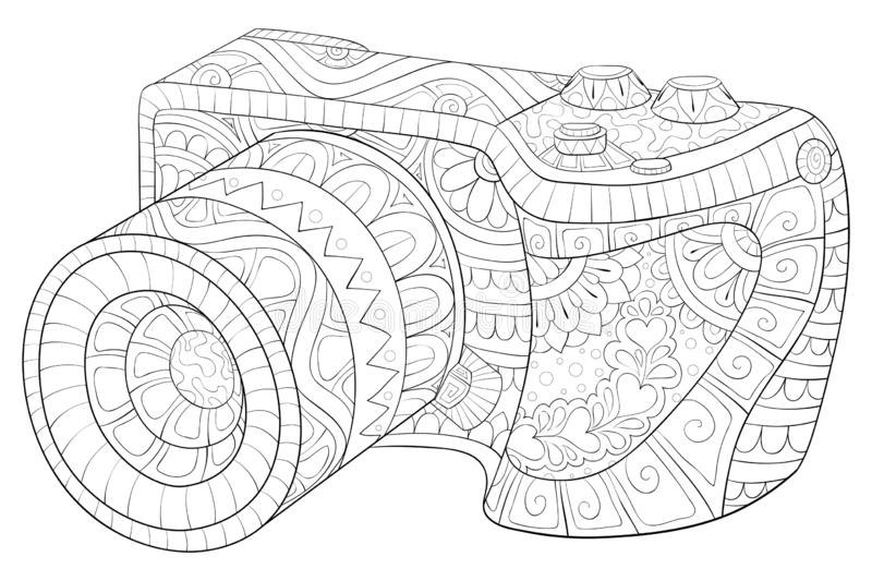 Adult coloring book,page a cute camera with ornaments image for relaxing.Zen art style illustration vector illustration