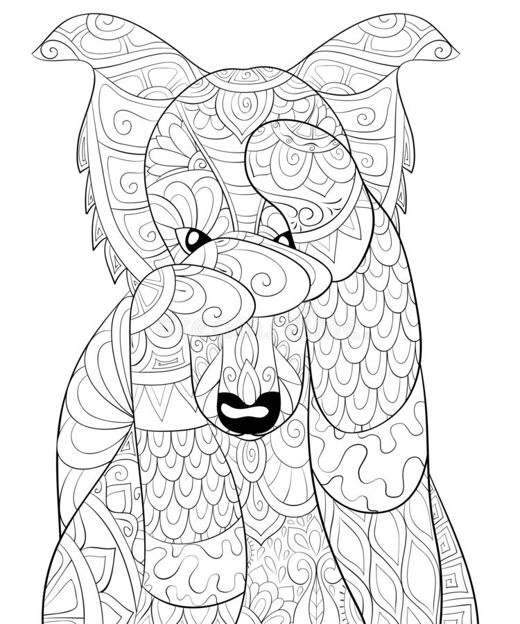 Adult coloring book,page a cute cartoon dog image for relaxing.Zen art style illustration. A cute dog with ornaments image for relaxing activity.A coloring book stock illustration