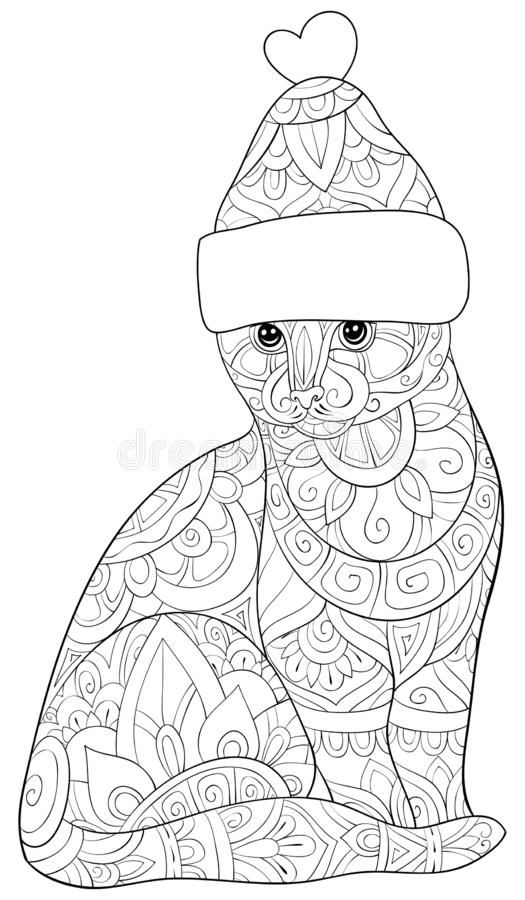 Adult coloring book,page a cute cat wearing a Christmas cap with ornaments image for relaxing.Zen art style illustration royalty free illustration