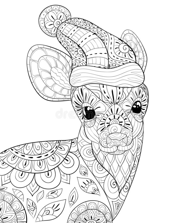 Adult coloring book,page a cute deer with Christmas cap,zen art style illustration. A little deer wearing a Christmas cap with ornaments,zen tangle decoration royalty free illustration