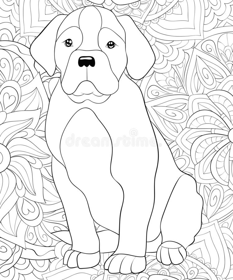 Adult coloring book,page a cute dog on the abstract background image for relaxing.Zen art style illustration. A cute dog on the floral abstract background with stock illustration