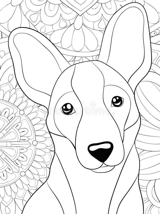 Adult coloring book,page a cute dog on the abstract background image for relaxing.Zen art style illustration. A cute dog on the floral abstract background with vector illustration