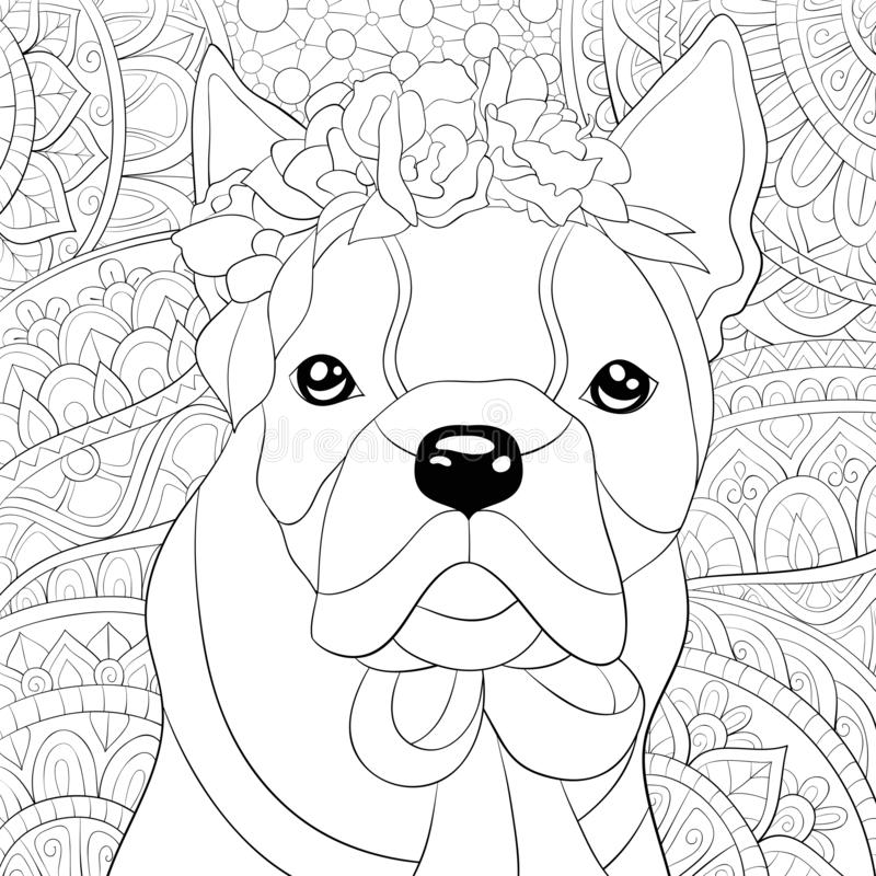Adult coloring book,page a cute dog on the abstract background with ornaments image for relaxing.Zen art style illustration. A cute dog on the abstract vector illustration