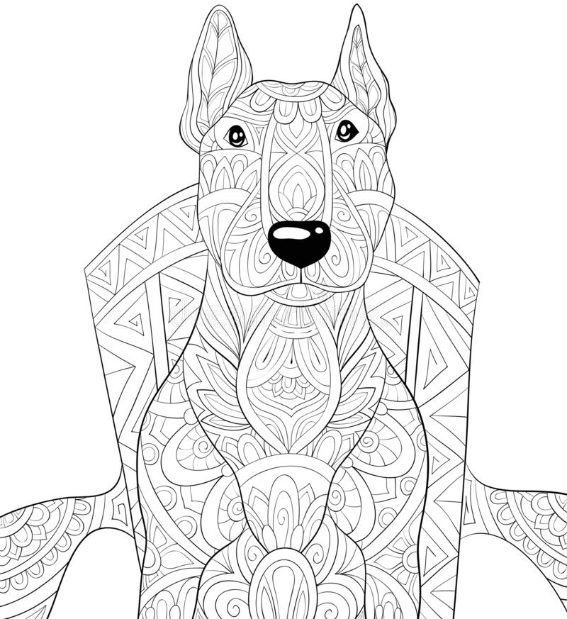 Adult coloring book,page a cute dog on the chair image for relaxing.Zen art style illustration. A cute dog on the chair with ornaments image for relaxing stock illustration