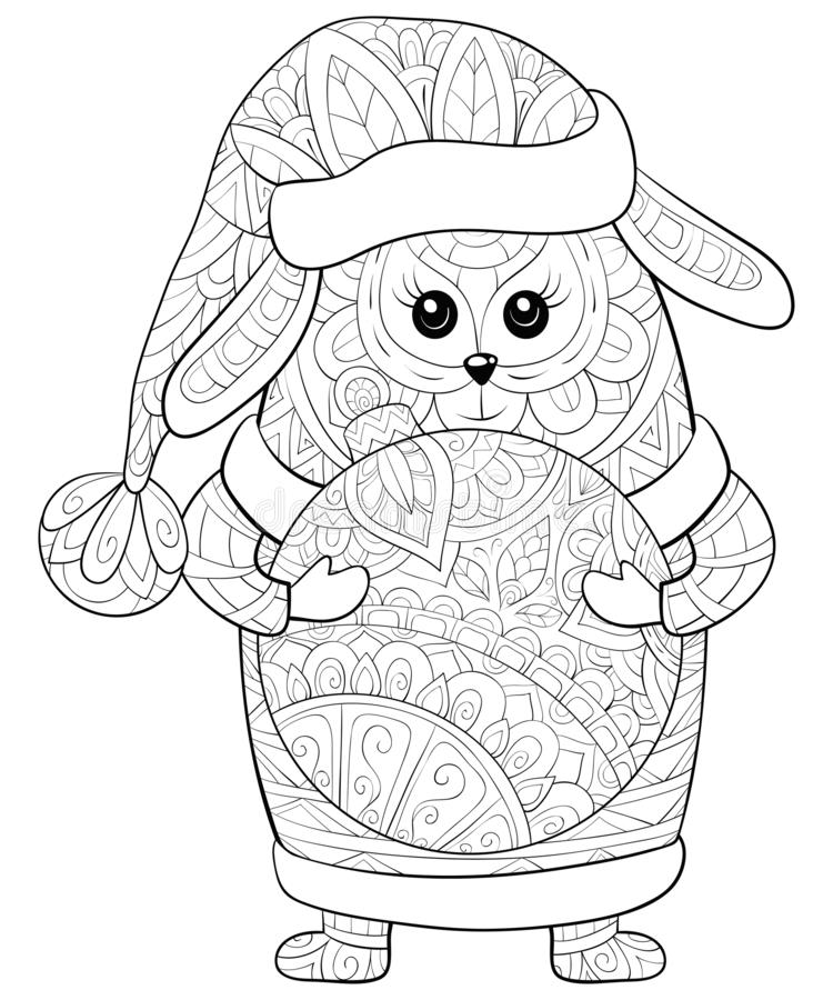 Adult coloring book,page a cute dog with Christmas cap,scarf,boots with decoration ball in his hands image for relaxing.Zen art. A cute cartoon dog wearing a stock illustration