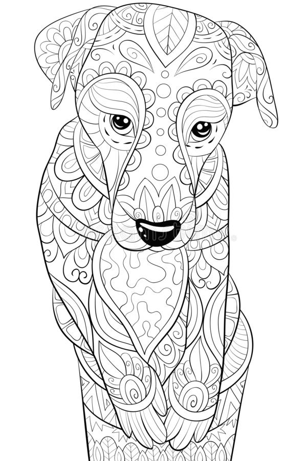 Adult coloring book,page a cute dog in a cup image for relaxing.Zen art style illustration. A cute dog into a cup with ornaments image for relaxing activity.A vector illustration