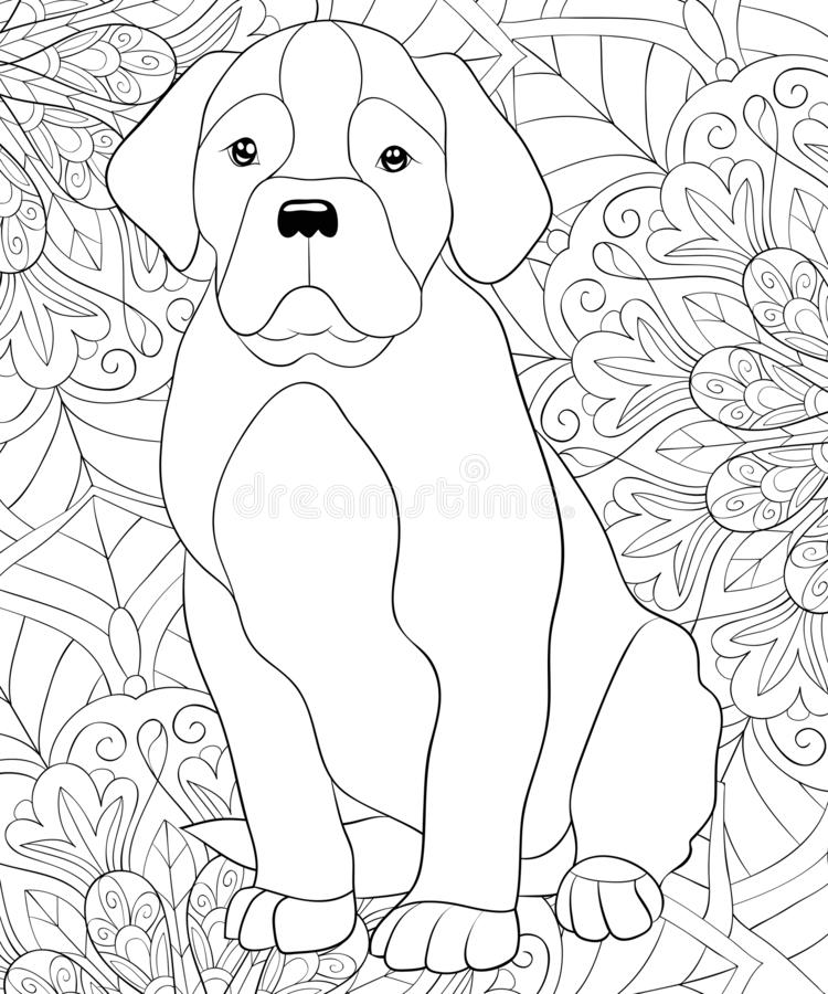 Adult coloring book,page a cute dog on the floral abstract background image for relaxing.Zen art style illustration. A cute dog on the abstract floral vector illustration