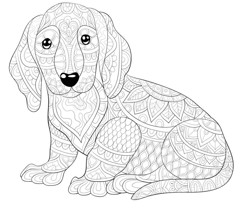Adult coloring book,page a cute dog with ornaments image for relaxing.Zen art style illustration. A cute dog  image for relaxing activity.Coloring book,page for vector illustration