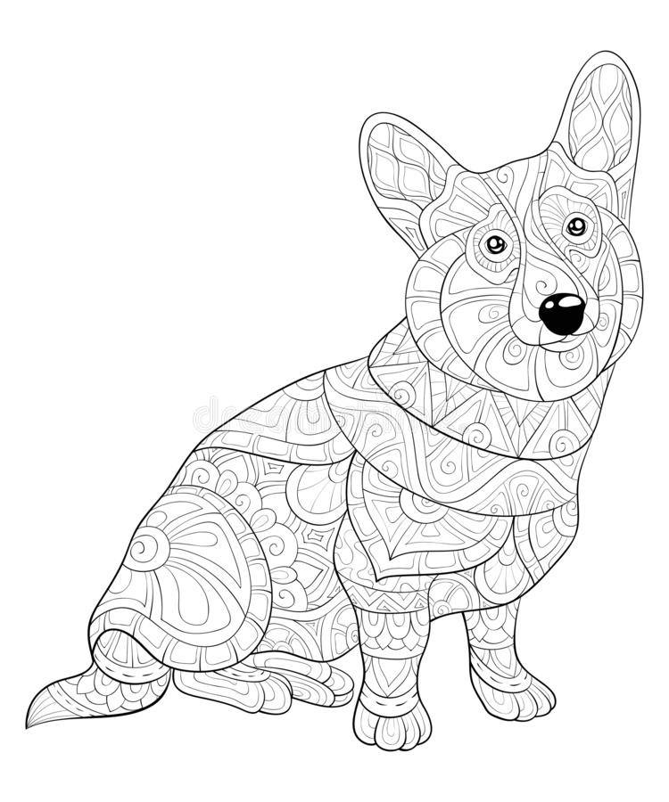 Adult coloring book,page a cute dog with ornaments image for relaxing.Zen art style illustration. A cute dog with ornaments image for relaxing activity.Coloring vector illustration