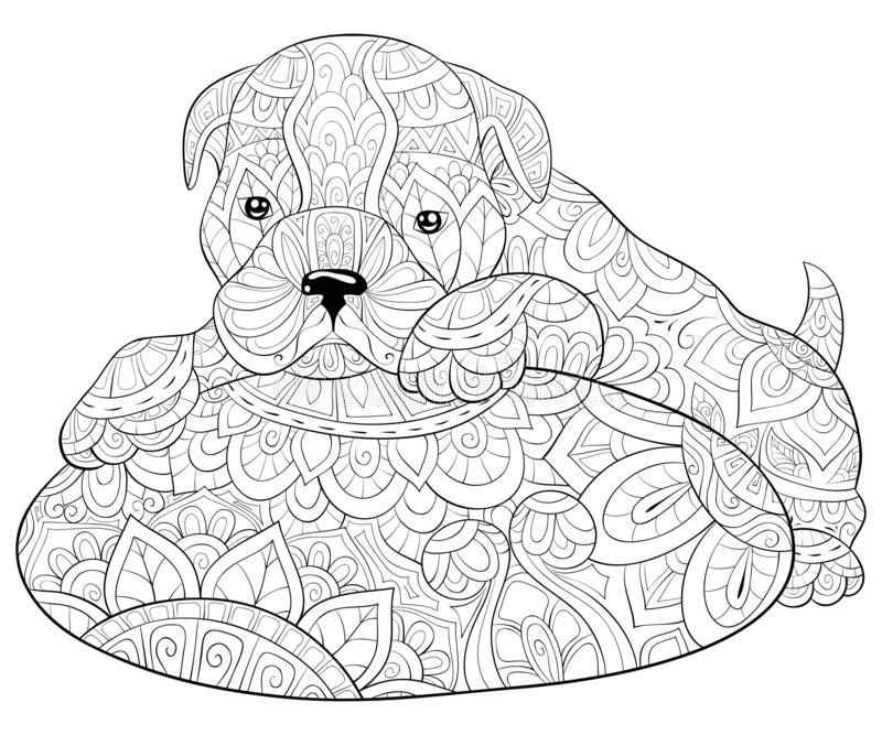Adult coloring book,page a cute dog on a pillow image for relaxing.Zen art style illustration. A cute dog on a pillow with ornaments image for relaxing activity royalty free illustration