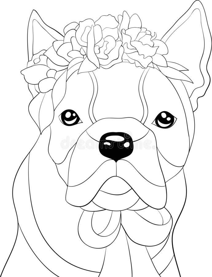 Adult coloring book,page a cute dog wearing a floral crown image for relaxing.Line art style illustration. A cute dog  image for relaxing activity.Coloring book vector illustration