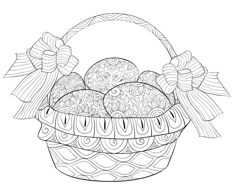 Adult Coloring Book,page A Cute Easter Egg Image For Relaxing.s Stock  Vector - Illustration Of Handdrawn, Flower: 128023574