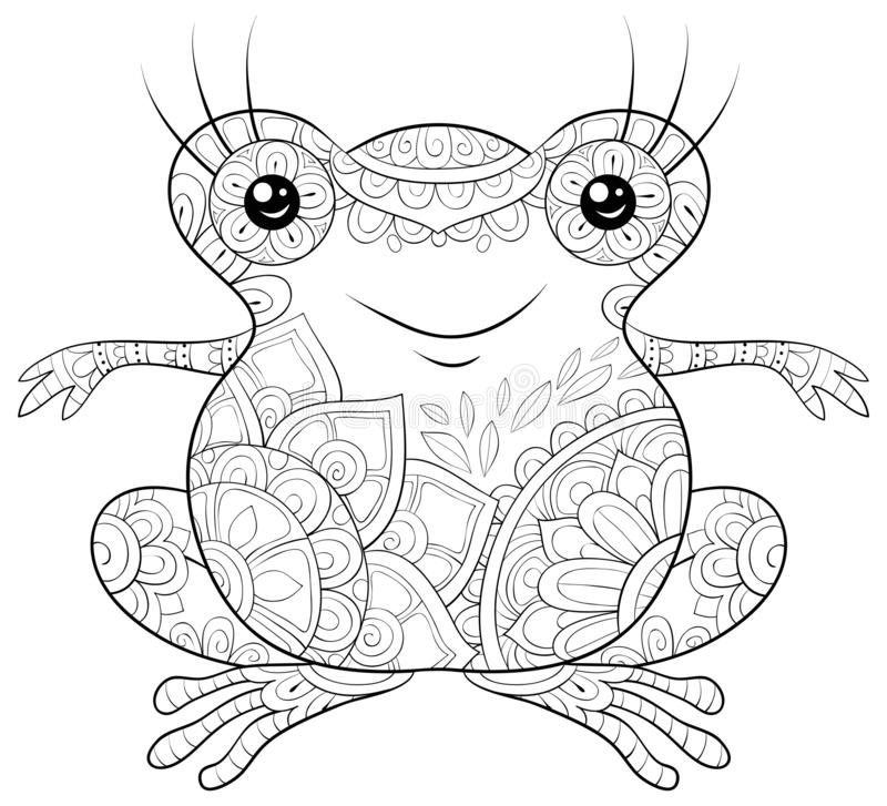 Adult coloring book,page a cute frog image for relaxing activity.Zen art style illustration for print. A cute cartoon frog with zen ornaments image for relaxing vector illustration
