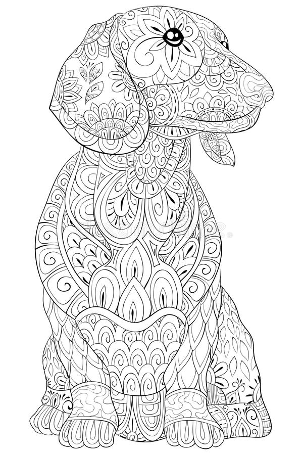 Adult coloring book,page a cute isolated dog for relaxing.Zen art style illustration. A cute dog,isolated with floral ornaments for relaxing.Poster design royalty free illustration