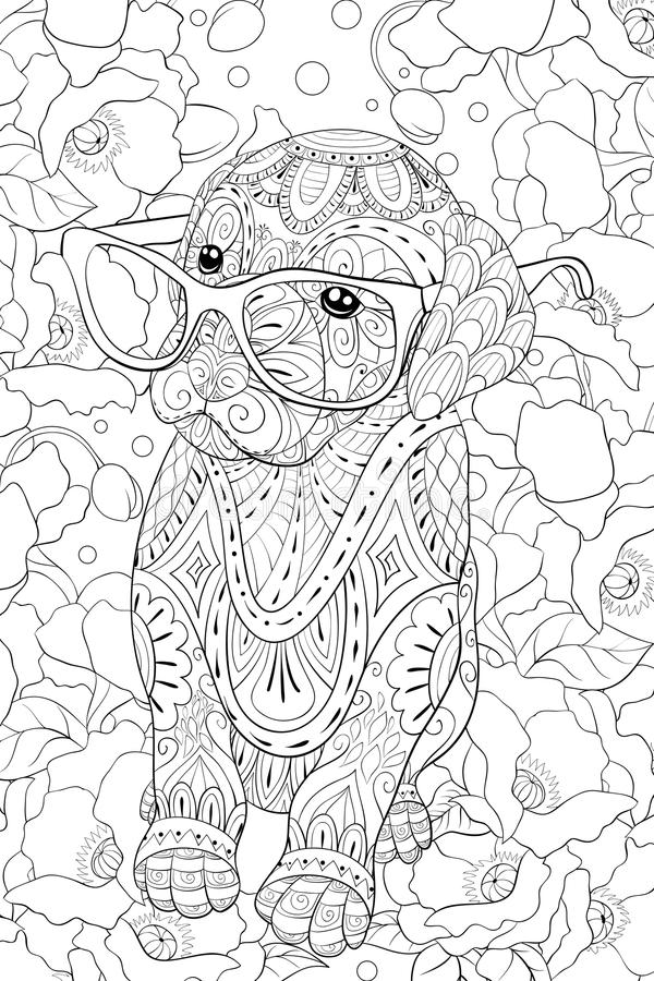 Adult coloring book,page a cute little dog with glasses for relaxing.Zen art style illustration. A cute little dog with glasses on the floral background for vector illustration